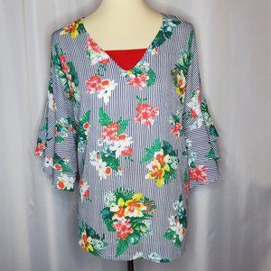 Versona Striped Floral Blouse